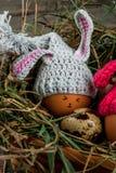 Todavía la vida rústica con adornado como pollo del conejito eggs Imágenes de archivo libres de regalías