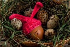 Todavía la vida rústica con adornado como pollo del conejito eggs Foto de archivo libre de regalías