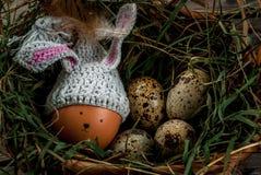 Todavía la vida rústica con adornado como pollo del conejito eggs Imagen de archivo