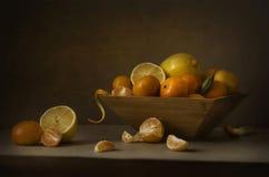 Todavía mandarinas y limones de la vida Fotografía de archivo