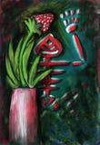 Todavía pintura de la vida con el esqueleto y la fresa de la rana Imagen de archivo