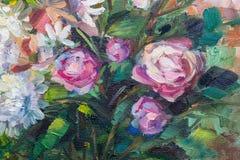 Todavía pintura de textura de la pintura al óleo de la vida, arte color de rosa del impresionismo Imagenes de archivo
