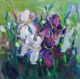 Todavía pintura de textura de la pintura al óleo de la vida, impresionismo a de los iris Imagen de archivo libre de regalías