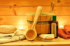 Todavía relaje la vida de la sauna con los accesorios de la sauna Imágenes de archivo libres de regalías