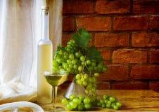 Todavía uvas de vino de la botella de la fruta de la vida Fotografía de archivo libre de regalías