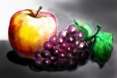 Todavía vida 1 Apple y uvas en un fondo oscuro handmade WA Imagen de archivo libre de regalías