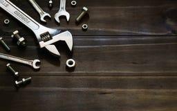 Todavía vida cercana para arriba de la llave ajustable forjada del acero, llaves, Foto de archivo