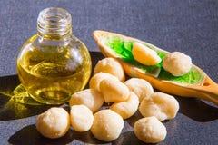 Todavía vida con aceite de la macadamia en la botella y Imágenes de archivo libres de regalías