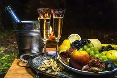 Todavía vida con champán en el fondo del fuego Imagen de archivo libre de regalías