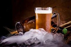 Todavía vida con de la cerveza y de la cerveza de barril con hielo por el vidrio Foto de archivo libre de regalías