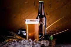 Todavía vida con de la cerveza y de la cerveza de barril con hielo por el vidrio Imagen de archivo