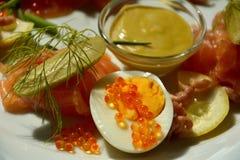 Todavía vida con el caviar rojo Imágenes de archivo libres de regalías
