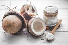 todavía vida con el coco y las escamas Foto de archivo