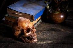 Todavía vida con el cráneo y el libro, Fotos de archivo