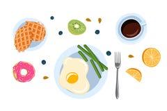 Todavía vida con el desayuno en un ejemplo plano del vector de la opinión de top del estilo del garabato stock de ilustración