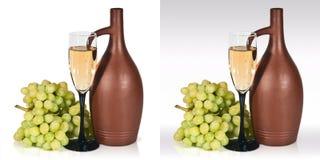 Todavía vida con el jarro, vidrio de uvas de vino Imágenes de archivo libres de regalías