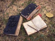 Todavía vida con el libro mágico en el jardín Imágenes de archivo libres de regalías