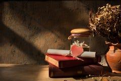 Todavía vida con el libro viejo, la cáscara y las rosas secadas en florero de la arcilla Fotografía de archivo