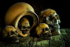 Todavía vida con el pote del cráneo y de arcilla, loza de barro Foto de archivo libre de regalías
