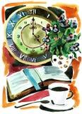 Todavía vida con el reloj ilustración del vector
