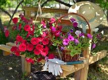 Todavía vida con el sombrero de las flores púrpuras de la petunia, de los guantes protectores, de la espada y de paja en el banco Foto de archivo libre de regalías