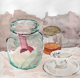 Todavía vida con el tarro y la taza Fotografía de archivo libre de regalías