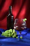 Todavía vida con el vidrio de buen vino rojo y el manojo de uvas Fotos de archivo libres de regalías