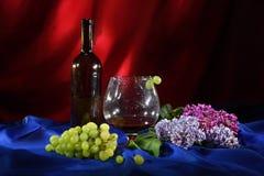 Todavía vida con el vidrio de vino rojo, el manojo de uvas y la lila Foto de archivo