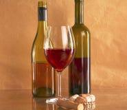 Todavía vida con el vidrio y la botella de vino, de queso y de uvas Fotos de archivo libres de regalías