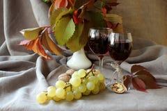 Todavía vida con el vino Foto de archivo