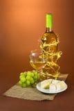 Todavía vida con el vino, las uvas y el queso en el marrón Imagen de archivo libre de regalías