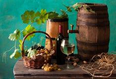 Todavía vida con el vino y el queso en blanco Imágenes de archivo libres de regalías