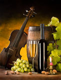 Todavía vida con el vino y el violín Fotografía de archivo libre de regalías