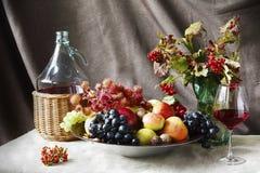 Todavía vida con el vino y las frutas Foto de archivo