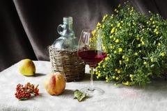 Todavía vida con el vino y las frutas Fotografía de archivo