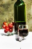 Todavía vida con el vino y las uvas Imagenes de archivo