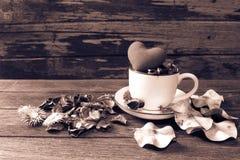 Todavía vida con la bolsita de la flor y una taza Foto de archivo libre de regalías