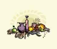 Todavía vida con la calabaza, la pera y las uvas. Foto de archivo