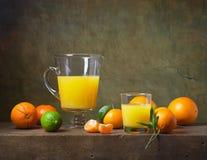 Todavía vida con la fruta y el zumo de naranja Fotos de archivo