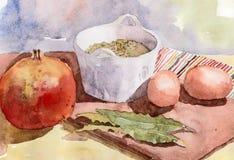 Todavía vida con la granada, las lentejas y los huevos watercolor Imágenes de archivo libres de regalías