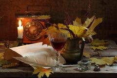 Todavía vida con la granada y el vino rojo Imagen de archivo