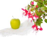 Todavía vida con la manzana en una servilleta y una rama Imagenes de archivo