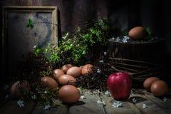 Todavía vida con la manzana y los huevos en la tabla de madera Fotografía de archivo libre de regalías