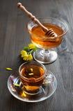 Todavía vida con la miel y el té Fotos de archivo libres de regalías