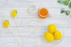 Todavía vida con la miel y los limones Imágenes de archivo libres de regalías