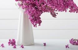 Todavía vida con la rama floreciente de la lila Imágenes de archivo libres de regalías
