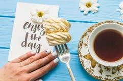 Todavía vida con la taza de té y de torta Fotografía de archivo