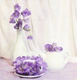 Todavía vida con la taza de té y las flores de alarma violetas Imagen de archivo libre de regalías