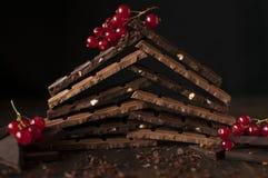 Todavía vida con las barras de chocolate Fotografía de archivo libre de regalías