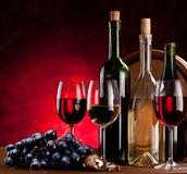 Todavía vida con las botellas de vino foto de archivo libre de regalías